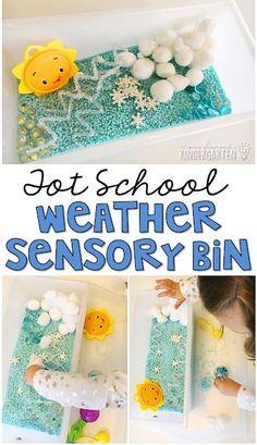 We LOVE this weather themed sensory bin. Great for tot school, preschool, or even kindergarten!