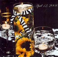 sunflower centerpiece w/ zebra ribbon