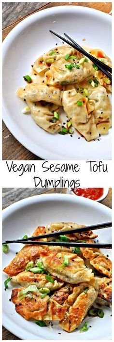 simple vegan dumplings filled with sesame tofu and green onions. Steamed or pan fried, either way, they are amazing!Super simple vegan dumplings filled with sesame tofu and green onions. Steamed or pan fried, either way, they are amazing! Veggie Recipes, Asian Recipes, Whole Food Recipes, Cooking Recipes, Healthy Recipes, Chorizo Recipes, Vegan Tofu Recipes, Vegan Soup, Mexican Recipes