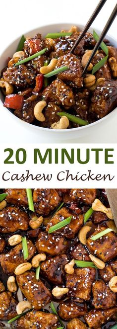 Super Easy 20 Minute Cashew Chicken. A quick and easy meal for busy weeknights! | chefsavvy.com #recipe #cashew #chicken #dinner