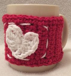 Red Or White Crochet Valentines Day Heart Cup Cosy by BeSoft