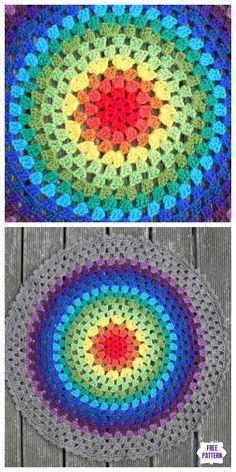 26 Trendy Ideas for crochet mandala rug free pattern granny squares Crochet Coaster Pattern, Crochet Rug Patterns, Crochet Mandala Pattern, Granny Square Crochet Pattern, Crochet Granny, Crochet Stitches, Crochet Circles, Bag Crochet, Crochet Home