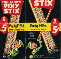 View from the Birdhouse: Did You Know Tuesday: 5 Fun Facts About Pixy Stix Retro Candy, Vintage Candy, Vintage Toys, Vintage Stuff, Retro Vintage, My Childhood Memories, Sweet Memories, Old School Candy, Nostalgic Candy