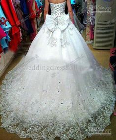 ball gown strapless luxury crystals cathedral train pearl lace Wedding Dress