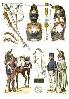 Line Cuirassiers, Trooper regimental distinctions, 19th (16), stable dress (17), greatcoat cloak (18),1813-1814 (Plate 37b)