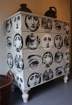 Fornasetti images decoupaged onto a vintage dresser