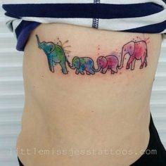 Elephant Family Watercolor Tattoo