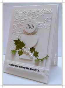 Kartka z okazji Komunii Świętej kielich z hostią