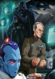 Grand moff Tarkin, grand admiral thrawn and Lord Vader together.