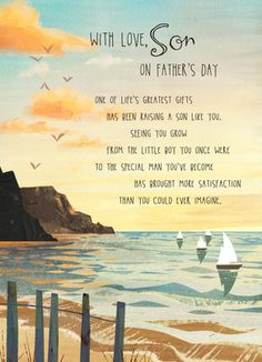 Cardstore makes it easy to personalize and mail Father's Day cards like Son Father's Day Seashore card. Just add your own photos, text and a signature to a heartfelt Father's Day cards and we'll mail it for you! Happy Fathers Day Son, Fathers Day Letters, Letters To My Son, Fathers Day Images, Fathers Day Quotes, Fathers Day Gifts, Diy Father's Day Gifts, Father's Day Diy, E Cards
