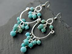 Turquoise, Teal Magnesite, Chandelier, Hoop Earrings, Sterling Silver, Wire Wrapped, Gemstone, Cluster Earrings, Bohemian, Wedding, Sundance