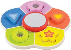 Educo Hello, It's Me Puzzle. Youngsters can sort shapes by color and amuse themselves with a mini-mirror that reflects their own image.