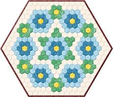 hexagon table topper pattern Use BATIKS and then little green in between