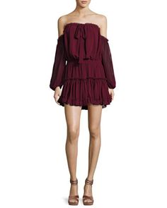 Indi+Off-the-Shoulder+Mini+Blouson+Dress+by+MISA+Los+Angeles+at+Neiman+Marcus.