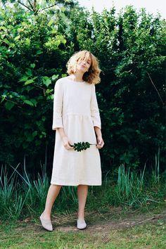 Ivory Linen Dress 3/4 Sleeve Dress Loose Fit Dress High