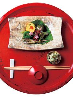 Spring landscape on Japanese dish