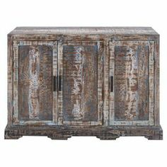"""Wood cabinet with 3 doors and a weathered finish.  Product: CabinetConstruction Material: WoodColor: Weathered brownFeatures: Three doorsDimensions: 32"""" H x 58"""" W x 16"""" D"""
