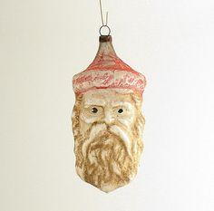 Vintage Glass Christmas Ornament Santa Claus