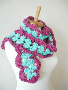 Blue and Purple Long Scarf ,Chunky Knits,  Ready to Ship, EXPRESS Shipping, New Season, Plum, Baby Blue, Wool