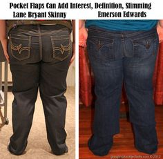 Plus Sized Jeans Fashion Tip # 2: Pocket flaps can be flattering - they don't necessarily add bulk.