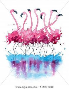 Flamingos watercolor painting-Lg Fridge Magnet Skin (size 36x65)
