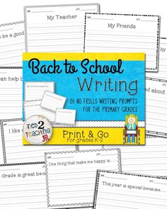 Back to School No Frills Writing Prompts for the primary grades gives you 25 simple ready to go writing prompt printables to use during the first weeks of school. This are great to use to get kids thinking and to get that pencil moving. Perfect for quick writes, each of these back to school K-2 printables give kids a sentence starter or topic to write about!