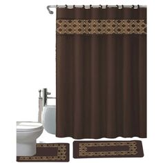 Gabrielle Chocolate 15 Piece Shower Curtain, Hooks, Bath Rug, Contour Rug Set