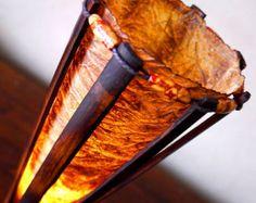Tischleuchte Bambus Lampe rot & weiß Muttertag von bamboobg auf Etsy