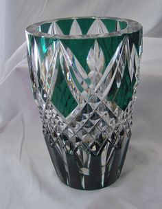Large Exquisite Val St. Lambert Crystal Green Flashed Cut Glass Vase Cased Glass