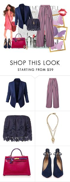 """""""Brunch a Chelsea"""" by piccolauby ❤ liked on Polyvore featuring Jupe de Abby, Tome, Miguelina, Lulu Frost, Hermès, Christian Louboutin, Jessica Carlyle and izak"""