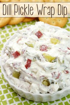 Dill Pickle Wrap Dip - The classic Dill Pickle Wraps you love - in an easier to make, but just as delicious dip! With only 4 ingredients and less than 10 minutes to make, this will be your go-to appetizer! Dip Recipes, Appetizer Recipes, Yummy Appetizers, Appetizer Dips, Recipes With Dill, Yummy Recipes, Recipies, Wedding Appetizers, Xmas Recipes