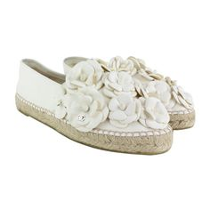 Chanel Camellia Floral Espadrille Flats ❤ liked on Polyvore featuring shoes, flats, chanel espadrilles, chanel shoes, chanel, floral shoes and flat shoes
