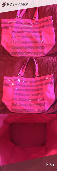 Pink Sequin VS Tote Bag Pink sequin striped tote bag from Victoria's Secret. I've never used it. It's been chillin' in my closet for sometime. No tags. ❌No Trades❌ Victoria's Secret Bags Totes