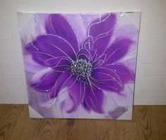 Large Purple Wall Art | Details about LARGE PURPLE AND SILVER GLITTER FLOWER CANVAS WALL ART ...