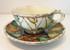 18th Century Antique Whieldon Colours Slip Decorated Earthenware Cup & Saucer