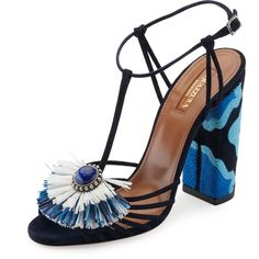 Aquazzura Samba Raffia T-Strap 105mm Sandal ($925) ❤ liked on Polyvore featuring shoes, sandals, ink, shoes sandals, jewel sandals, jeweled sandals, strap shoes, fringe sandals and ankle wrap sandals