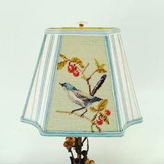"""Blue Bird Lamp Shade, Lampshade Vintage Needlepoint and Blue French Ticking,6""""top x 11""""bottom x 8.5"""" high, Inverted Corner Rectangle, Great! by lampshadelady on Etsy"""