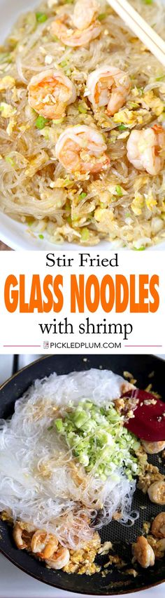 Stir Fried Glass Noodles with Shrimp and Egg - savory and nutty Asian style noodles. We love this for a quick dinner! Quick and Easy Recipe | pickledplum.com