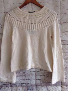 Apostrophe Sweater Cream Pearl Ribbon LS Cotton Nylon Blend Medium 8-10 NWT #Apostrophe #Crewneck #Christmas