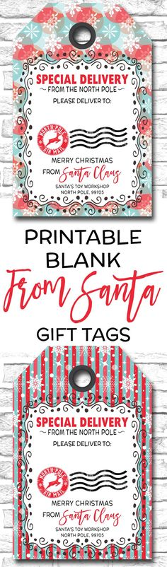 Printable christmas gift tags special delivery from santa gift printable blank from santa gift tags httpsetsy negle Choice Image