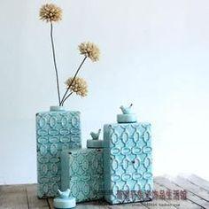 地中海/美式乡村 蓝色陶瓷装饰摆件三件套 复古做旧小鸟盖装饰罐