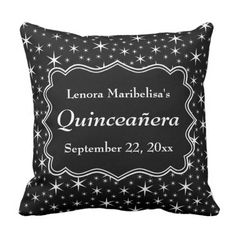 Black and White Stars Sample Quinceanera Throw Pillow. ** Find out even more by clicking the picture link