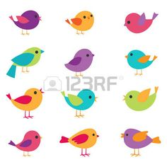Vector set of colorful and bright birds. Stock Photo - 52871070
