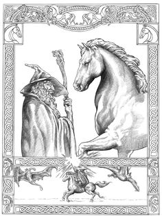 "Sombragris by NachoCastro.deviantart.com on @deviantART - Gandalf with his horse, Shadowfax, from ""Lord of the Rings"""
