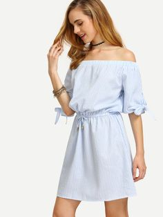 Vestido rayas hombro al aire cintura con cordón -azul-Spanish SheIn(Sheinside) Sitio Móvil