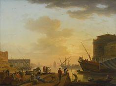 Claude-Joseph Vernet (Avignon 1714 - 1789 Paris), Le soir: a mediterranean harbour at sunset with fisherfolk and merchants on a quay, 1752