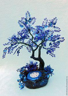 дерево из бисера ночник Цветущее в Ночи - синий,чёрный,дерево,Дерево из бисера