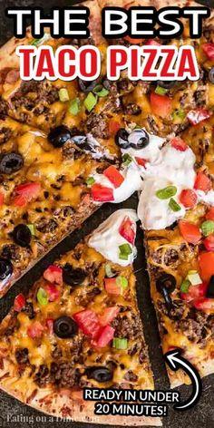 Taco Pizza Recipes, Mexican Food Recipes, Beef Recipes, Cooking Recipes, Best Mexican Pizza Recipe, Mexican Beans Recipe, Taco Food, Cooking 101, Mexican Dishes