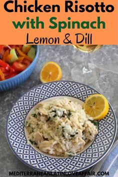 This Chicken Risotto with Spinach, Lemon and Dill tastes gourmet, cooks fast and makes for a great family dinner dish. #risotto, #dinner, #recipe, #mediterraneanlatinloveaffair Best Mediterranean Food, Chicken Risotto, Dinner Dishes, Spinach, Lemon, Cooking, Gourmet, Kitchens, Kitchen