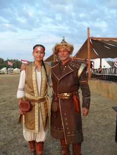 """This is my family heritage on my dad's side: Hungarian (Magyar) couple at the festival event """"Kurultaj"""" Folk Costume, Costumes, Hungary Travel, Heart Of Europe, Early Middle Ages, Budapest Hungary, My Heritage, Archetypes, Historical Clothing"""